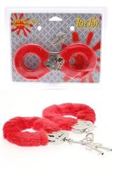 Menottes  en métal recouverte de fourrure rouge