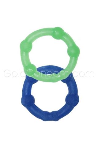 Deux anneaux péniens extensibles - Bleu et vert