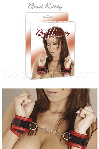 Menottes en cuir Bad Kitty rouge/noir