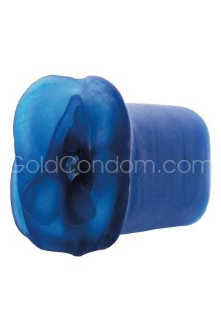 Masturbateur double succion 16 cm bleu cobalt
