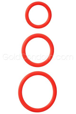 3 anneaux de pénis confortables rouge
